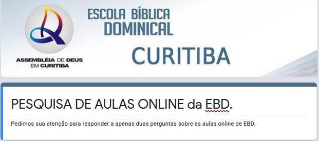 Pesquisa aulas online EBD