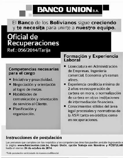 Banco Unión precisa Oficial de Recuperaciones