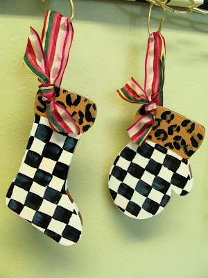 hand painted black and white check with animal print Christmas ornaments