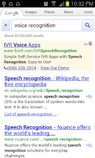 Web search using voice recognition