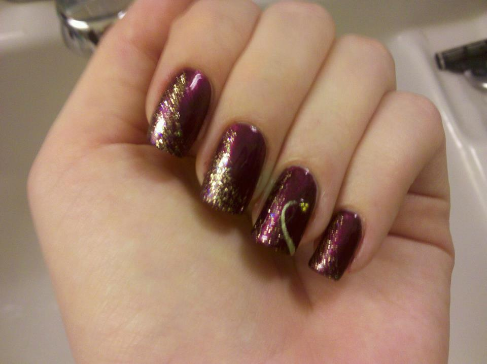 Trishas Nail Designs Purple With Gold Glitter
