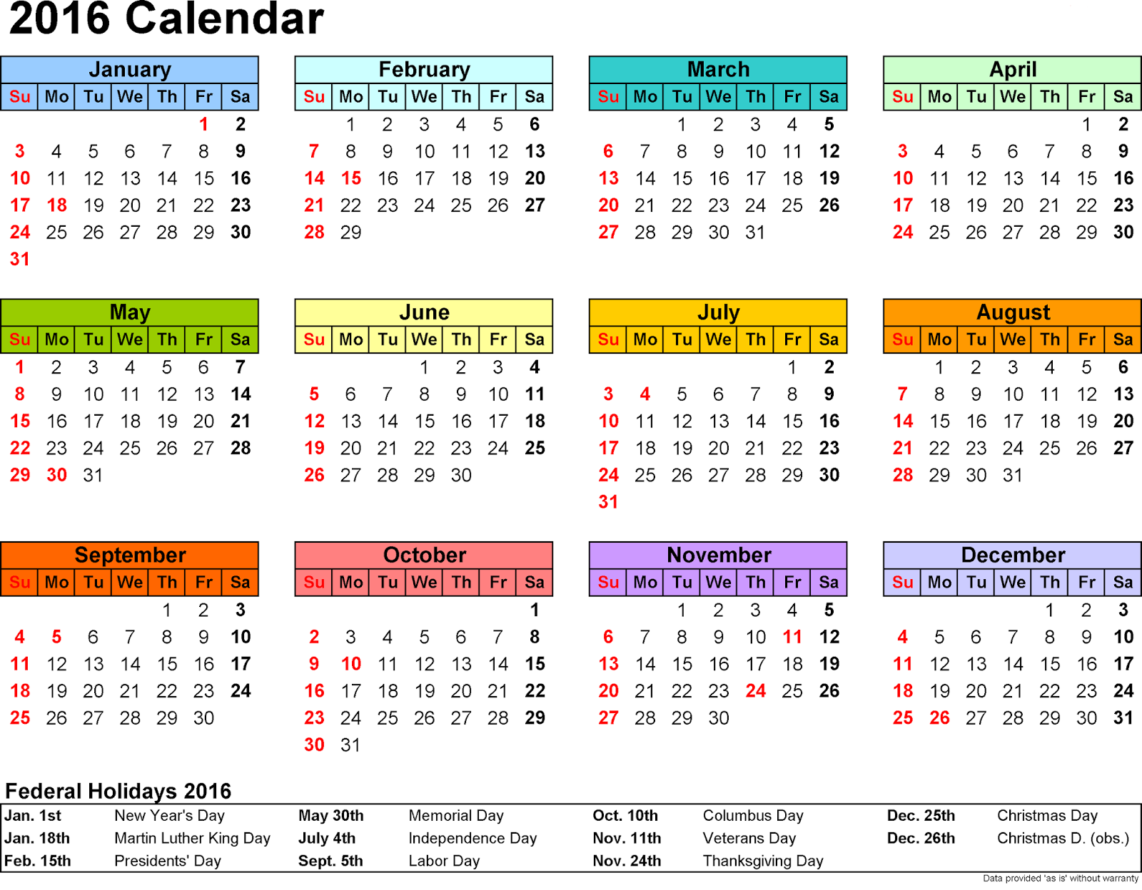 Free]^ Printable Calendar 2016: 2016 Printable Calendar with Large ...