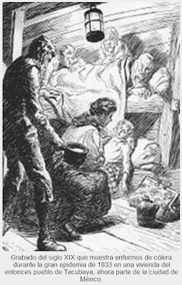 Grabado del siglo XIX que muestra enfermos de cólera durante la gran epidemia de 1833 en una vivienda del entonces pueblo de Tacubaya, ahora parte de la ciudad de México.