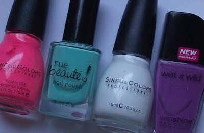 Sinful Colors 24/7, Rue Beaute Age of Aquarius, Sinful Colors Snow Me White, Wet n Wild Ultra Violet