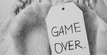etiqueta game over cuento