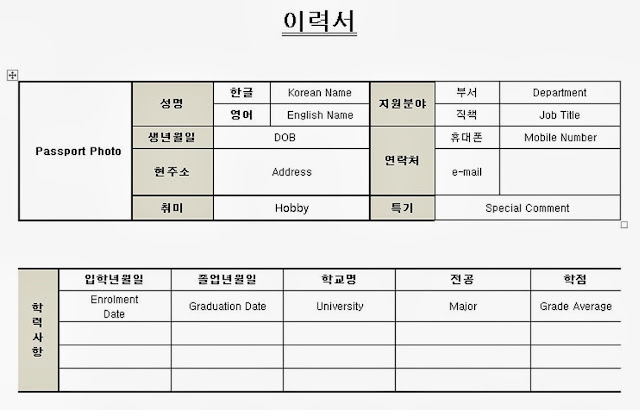 Korean job application resume template