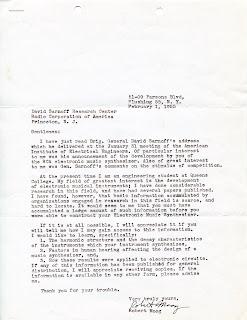 Letter from Robert Moog to Herbert Belar, February 1, 1955