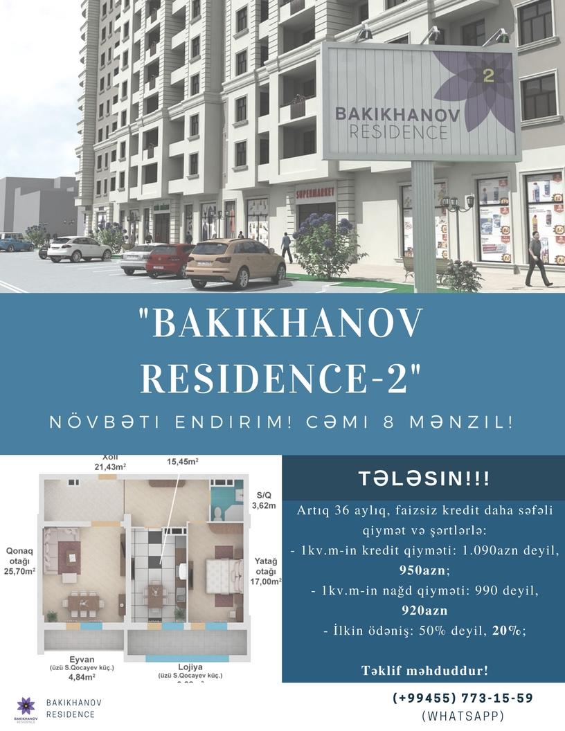 """""""Bakıxanov Rezidens-2"""". Növbəti endirim! Tələsin!!!"""