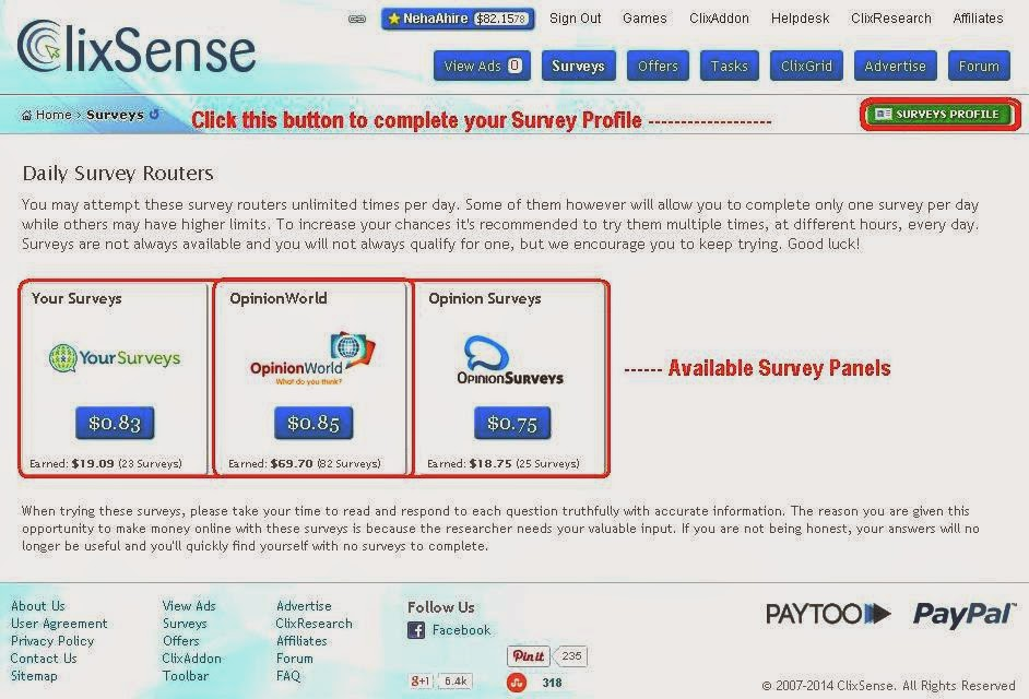 Get more Clixsense Surveys