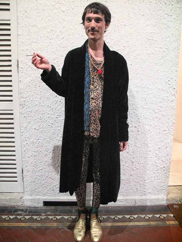 Street Fashion,  leopard print skinny pants and shirts with gold boots blue complimentary scarf and long black coat