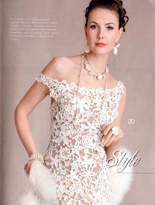 vestido eleganta en crochet irlandes