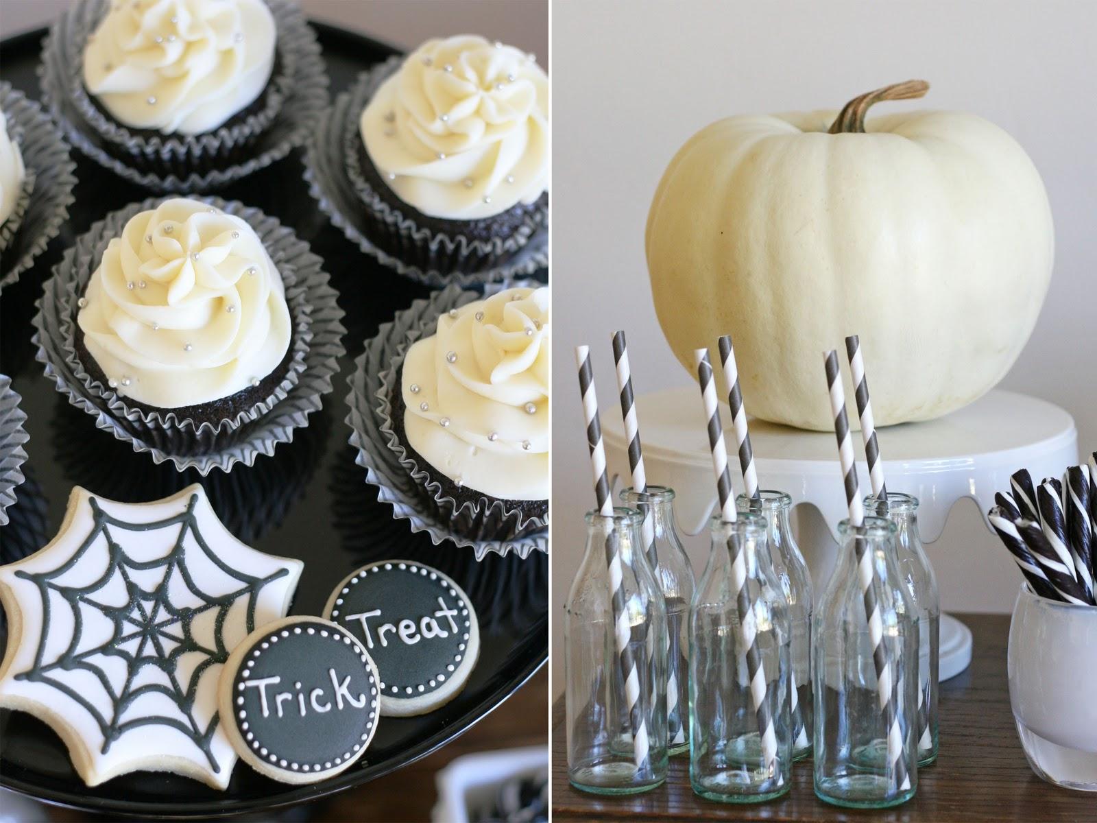 black and white halloween dessert table – glorious treats