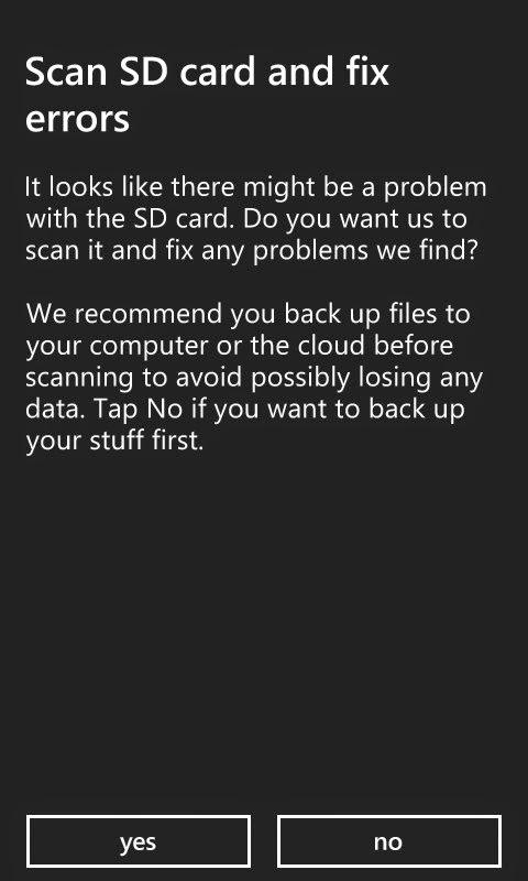 SD Card error message on Windows Phone