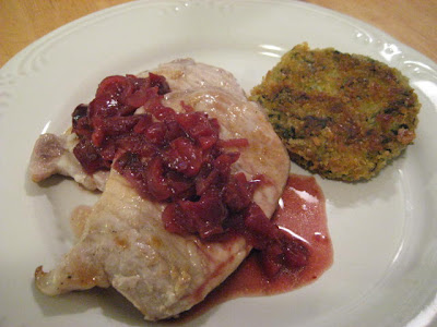... Pork Chops with Cherry Sauce and Golden Semolina-Quinoa-Spinach Cakes