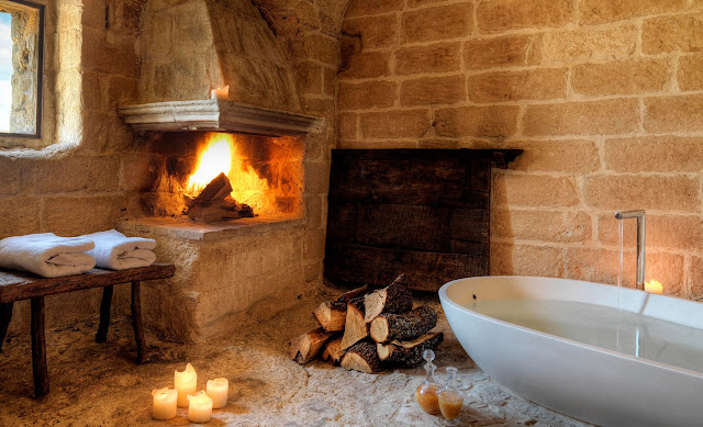 Fireside bath and aromatherapy massage treatment, Sextantio Le Grotte della Civita as seen on linenandlavender.net http://glossi.com/linenlavender/25552-ll-travels-sextantio-matera-italy