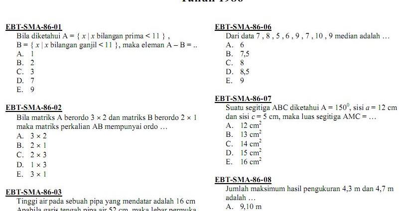Matematika Di Sma Soal Ujian Nasional Matematika Ipa Sma Ma 1986