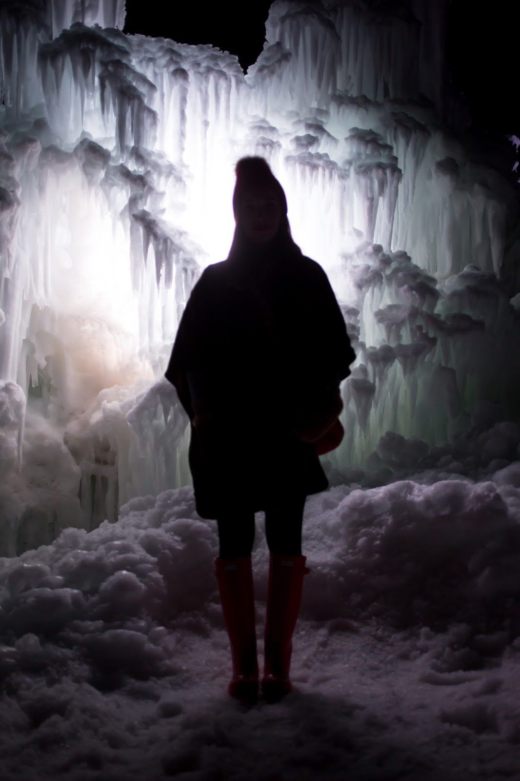 Midway Ice Castles at Night
