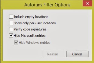 autorun's filter options