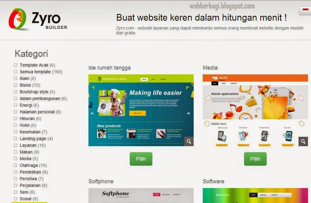 Pilih template website gratis anda