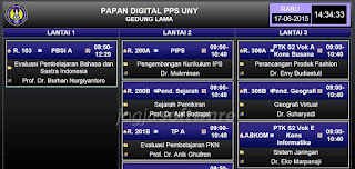 Tampilan Papan Jadwal Digital Universitas: