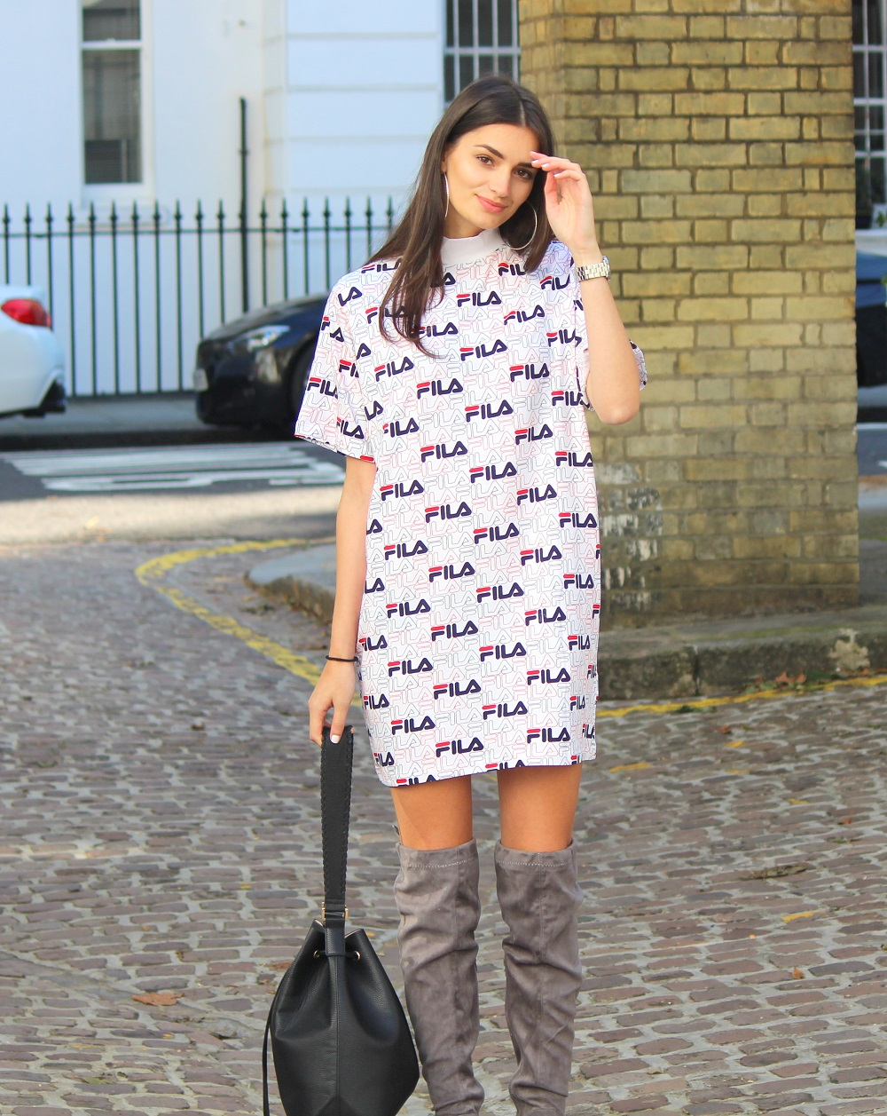 fila outfits. Peexo Fashion Blogger Wearing Fila Asos Exclusive Dress And Knee High Boots Outfits