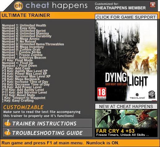 Dying light trainer teleport