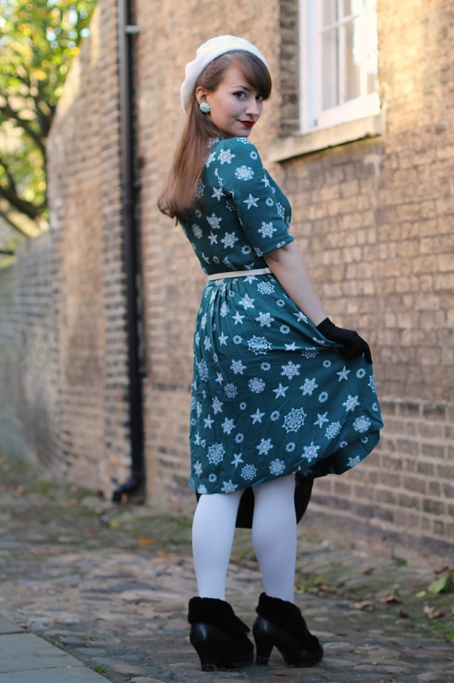 Emily & Fin Rose dress in teal falling snowflake + Vendula Snowflake Grab Bag