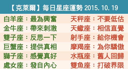 【克萊爾】每日星座運勢2015.10.19