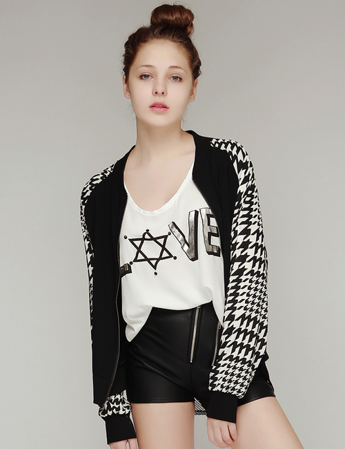Houndstooth Digital Print Jacket
