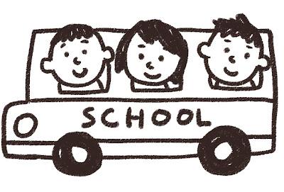 スクールバス・通学バスのイラスト 白黒線画