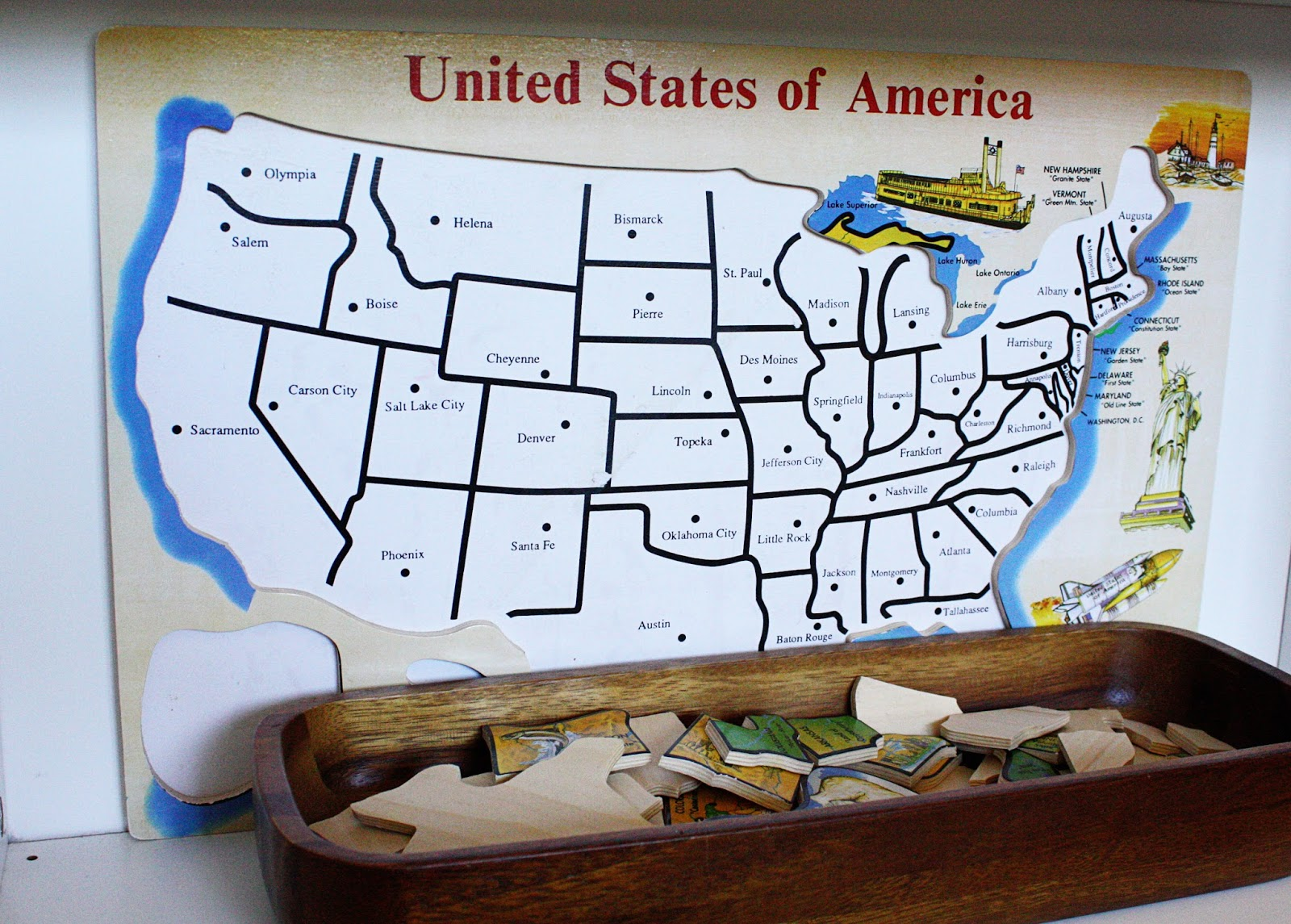 a wooden puzzle map of the united states like this one is a really great toy to have around and it was perfect for learning the geography and capitols of