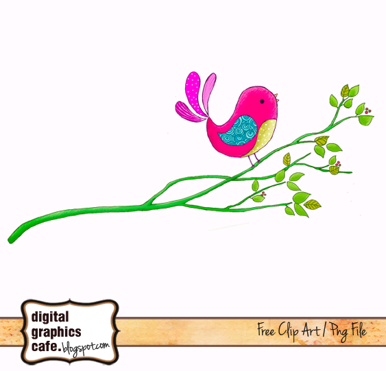 Free Bird on branch scrapbook clipart from Digital Graphics Cafe