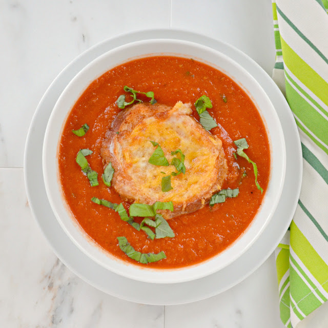 Tomato Basil Soup with Cheesy Bread. So easy to make in under 30 minutes and delicious.