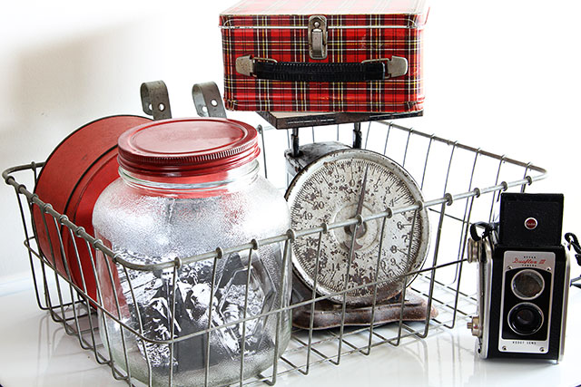 Eclectic vintage vignette with Kodak Duaflex camera, plaid Aladdin lunch box and rusty scale @ houseofhawthornes.com