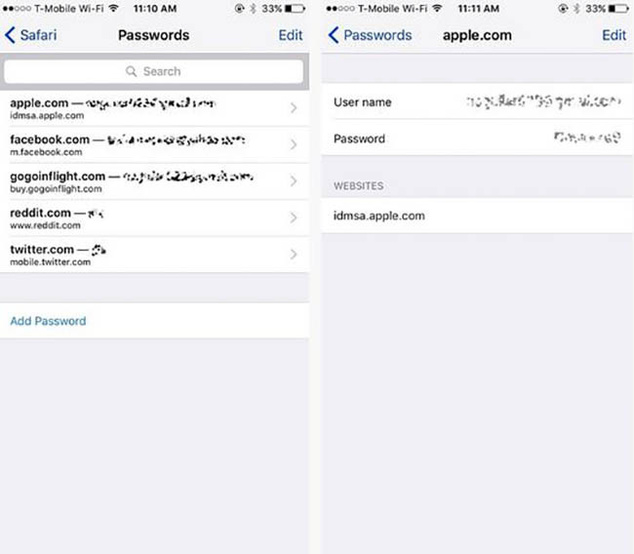 Manage and remove stored passwords in iOS and Safari browser