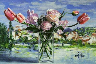 Flores con Paisaje de Fondo