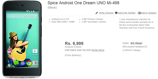 Spice Android One Dream UNO Mi-498 leaked on Flipkart