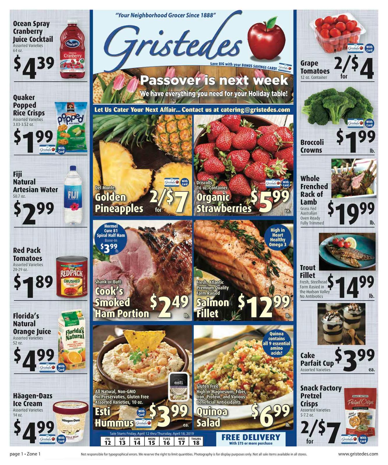 CHECK OUT ROOSEVELT ISLAND GRISTEDES Products, Sales & Specials For April 12 - April 18