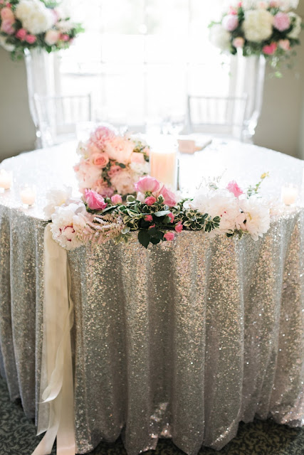 les fleurs : peony : sequin sweetheart table
