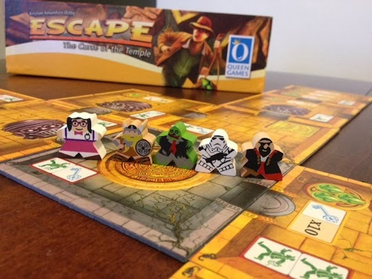 Escape Curse of the Temple with custom meeples