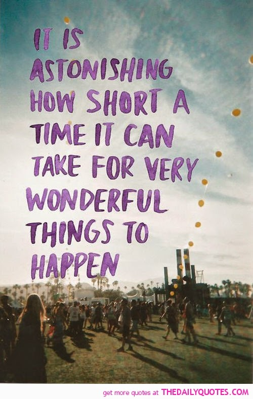 """It is astonshing how short a time it can take for very wonderful things to happen."" ~ Unknown; Picture of a large group of people with palm trees in the background and a string of yellow balloons along the right side. TheDailyQuotes.com"