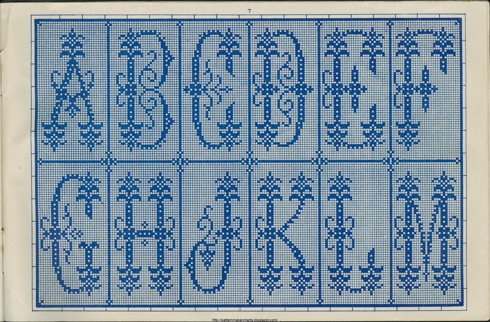 Вязаный алфавит крючком. Схемы для вязания 75