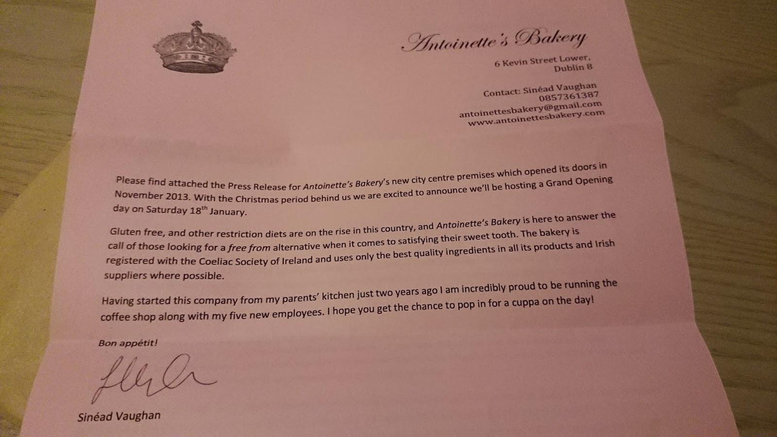 Dublin Gluten Free Press Release For Antoinettes Bakery