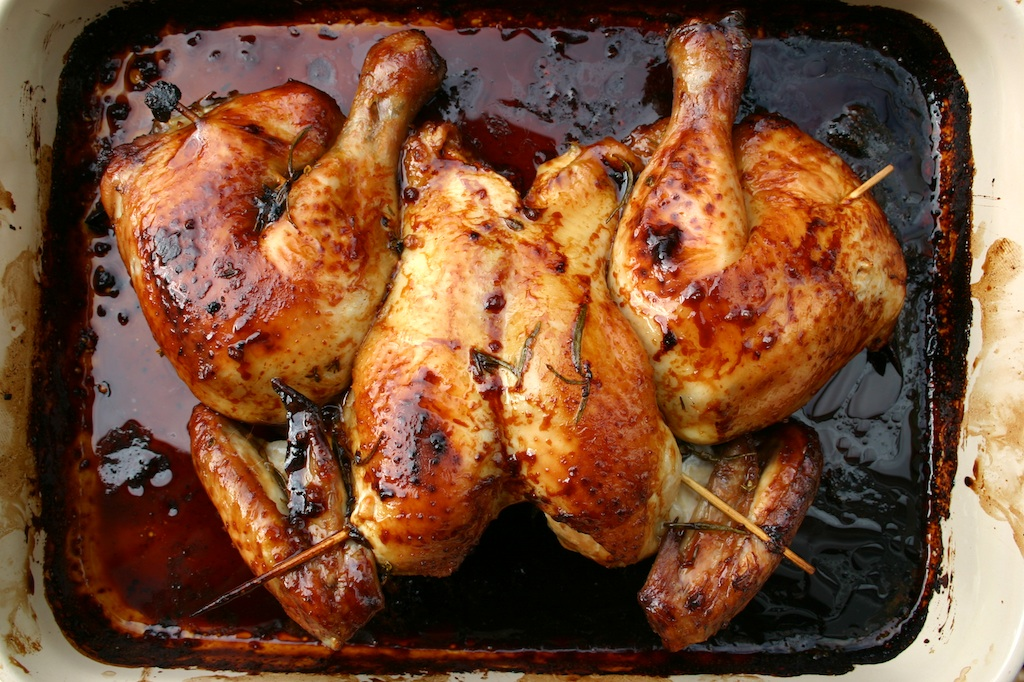 spatchcock chicken with apple jelly and honey marinade