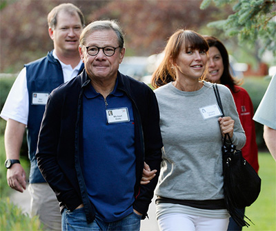 Michael Ovitz arrives in Sun Valley with Tamara Mellon