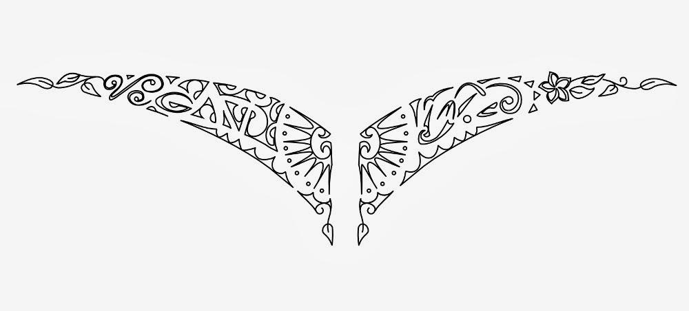 Lower back vegan tattoo stencil