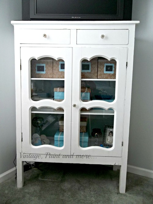 Vintage, Paint and more... vintage cabinet used as storage, vintage cabinet painted white, decorative box storage