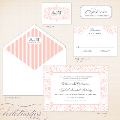glamorous flourish printable wedding invitation design