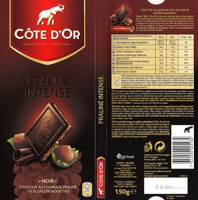 tablette de chocolat noir fourré côte d'or praliné intense 2