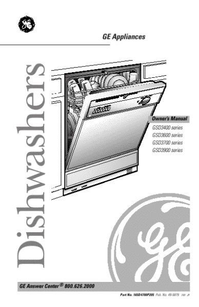 Ge Quiet Power 3 Dishwasher Manual  U0026 Service